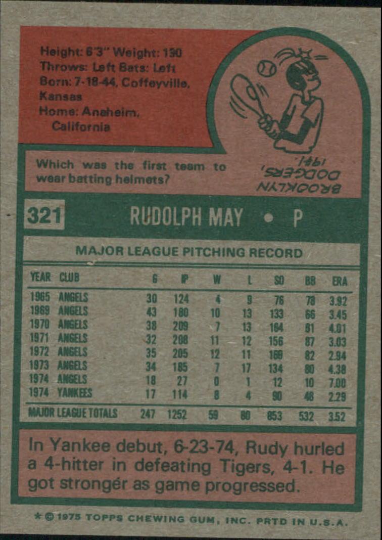 1975 Topps #321 Rudy May back image