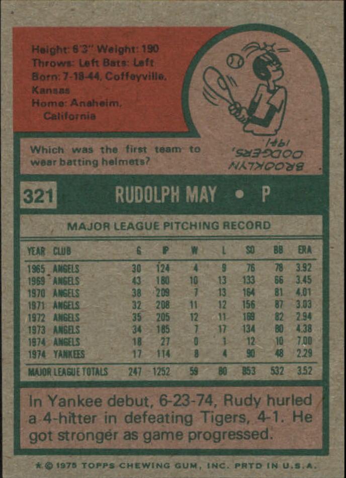 1975 Topps Mini #321 Rudy May back image