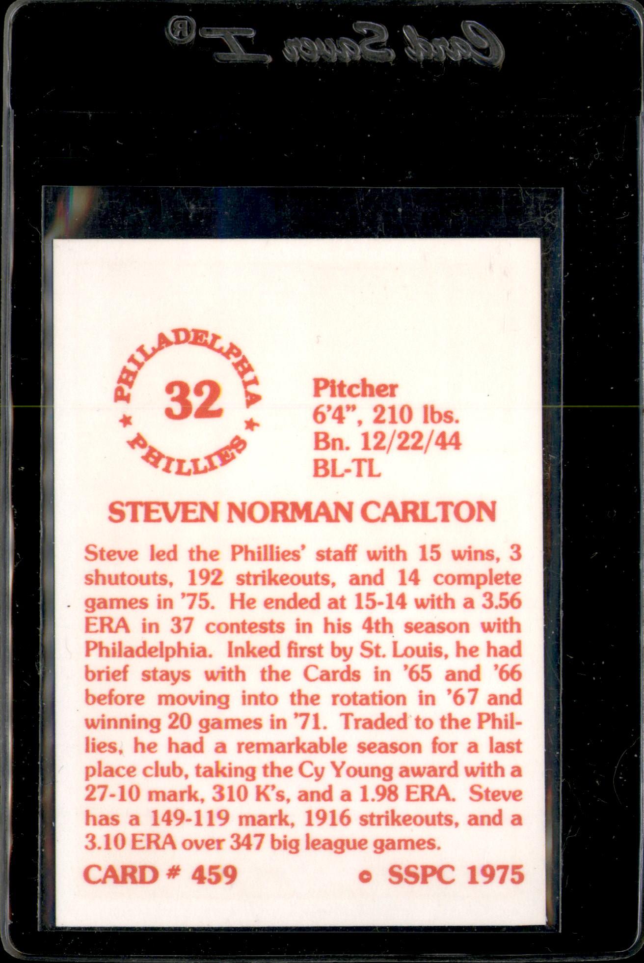 1976 SSPC #459 Steve Carlton back image