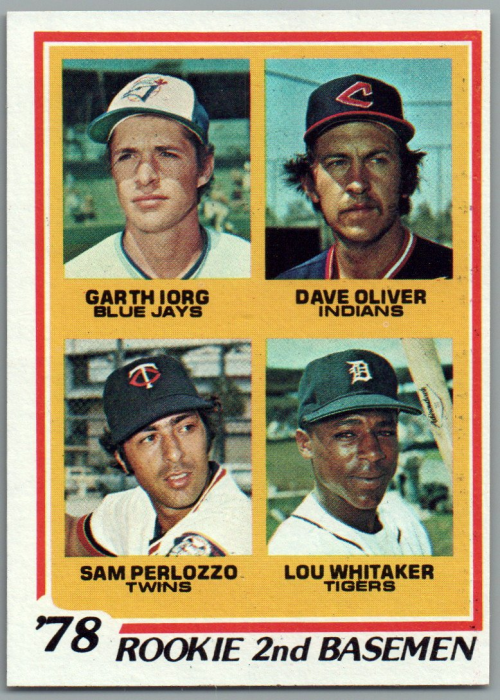 1978 Topps #704 Rookie 2nd Basemen/Garth Iorg RC/Dave Oliver RC/Sam Perlozzo RC/Lou Whitaker RC