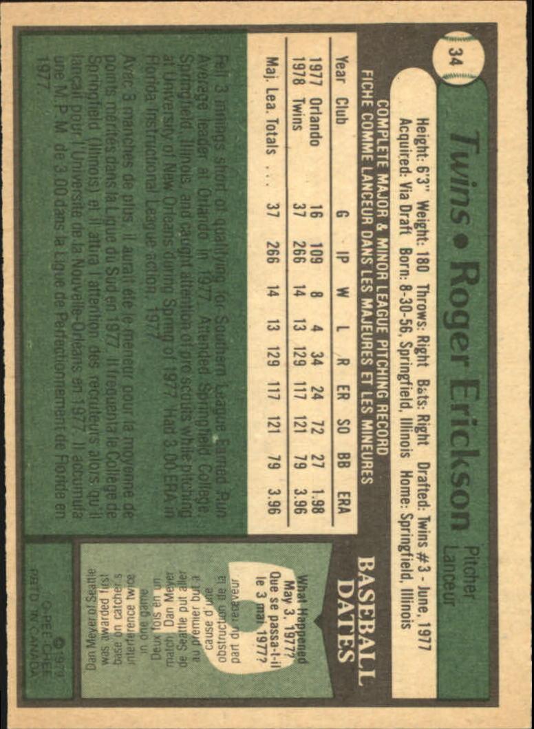 1979 O-Pee-Chee #34 Roger Erickson back image