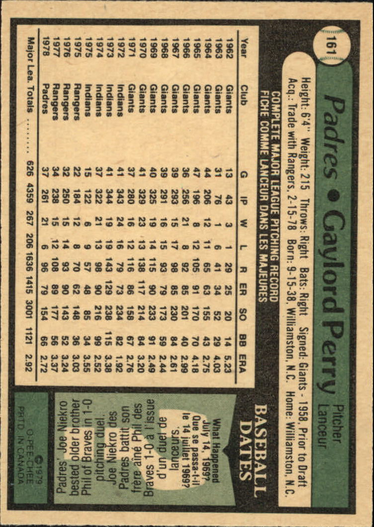 1979 O-Pee-Chee #161 Gaylord Perry back image