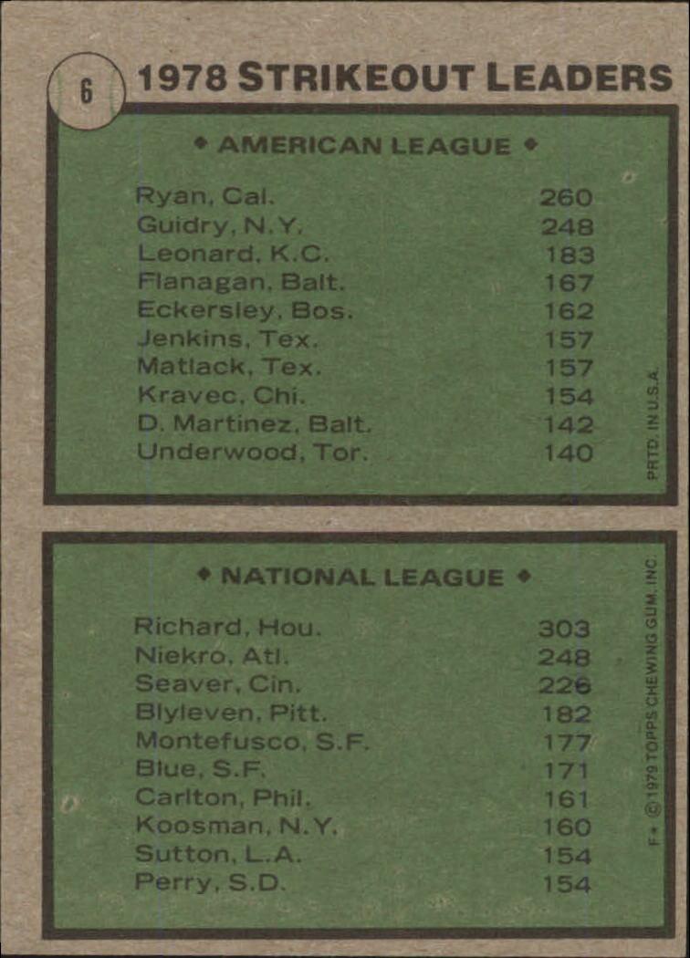 1979 Topps #6 Strikeout Leaders/Nolan Ryan/J.R. Richard back image