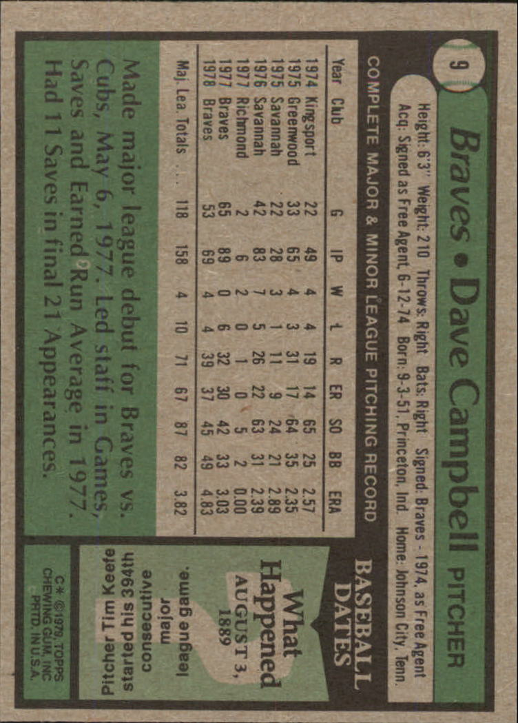 1979 Topps #9 Dave Campbell back image