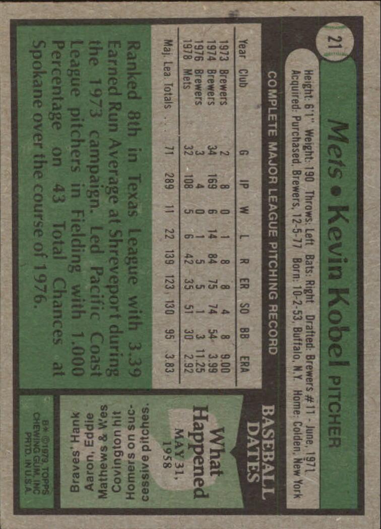 1979 Topps #21 Kevin Kobel back image