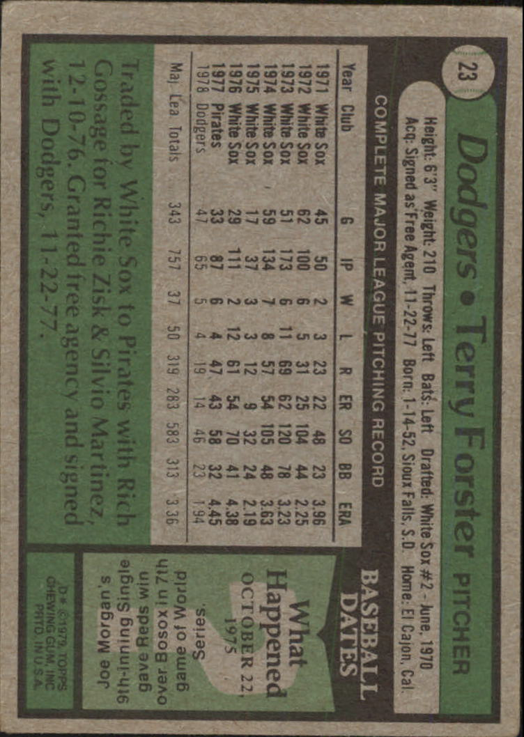1979 Topps #23 Terry Forster back image