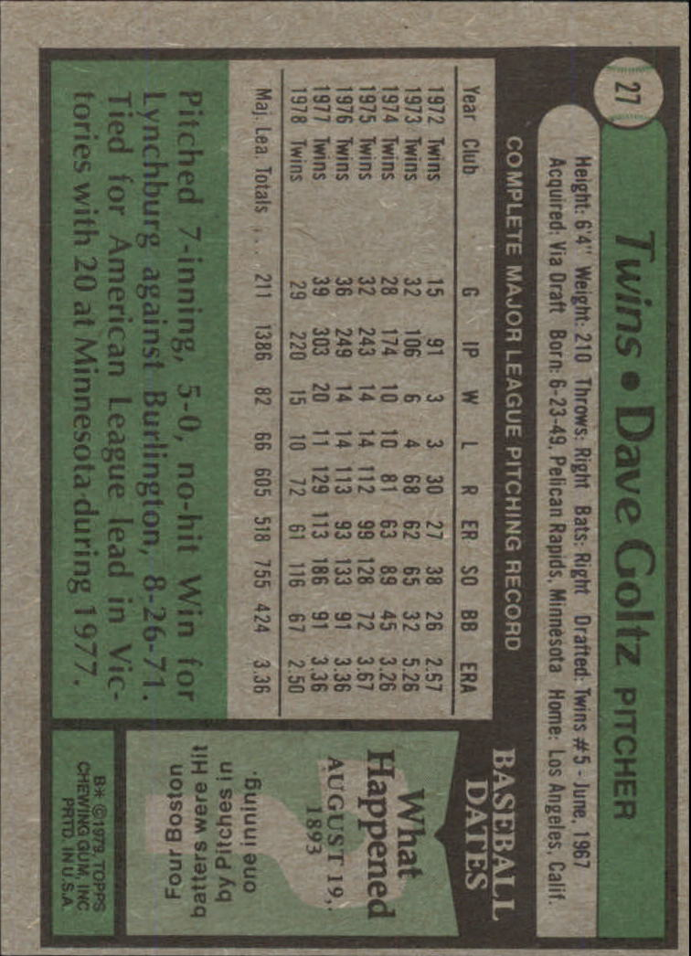 1979 Topps #27 Dave Goltz back image