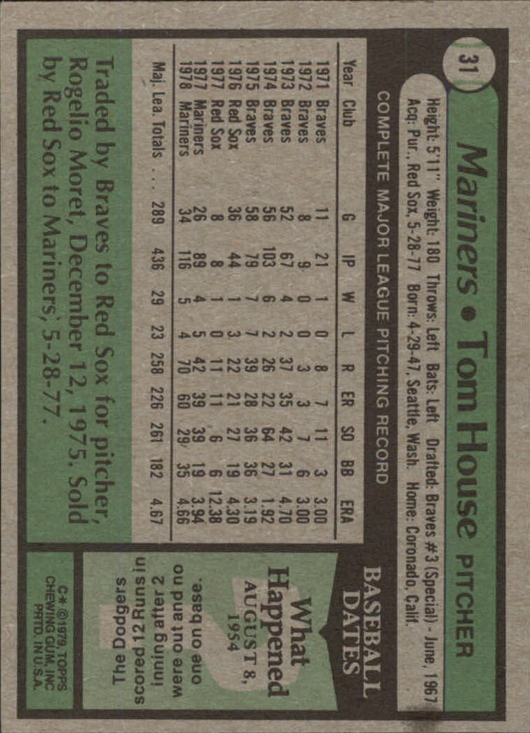 1979 Topps #31 Tom House DP back image