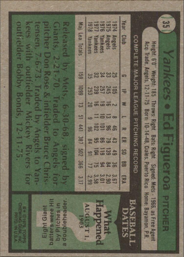 1979 Topps #35 Ed Figueroa back image