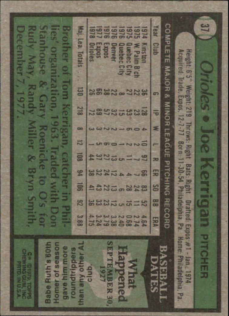 1979 Topps #37 Joe Kerrigan DP back image