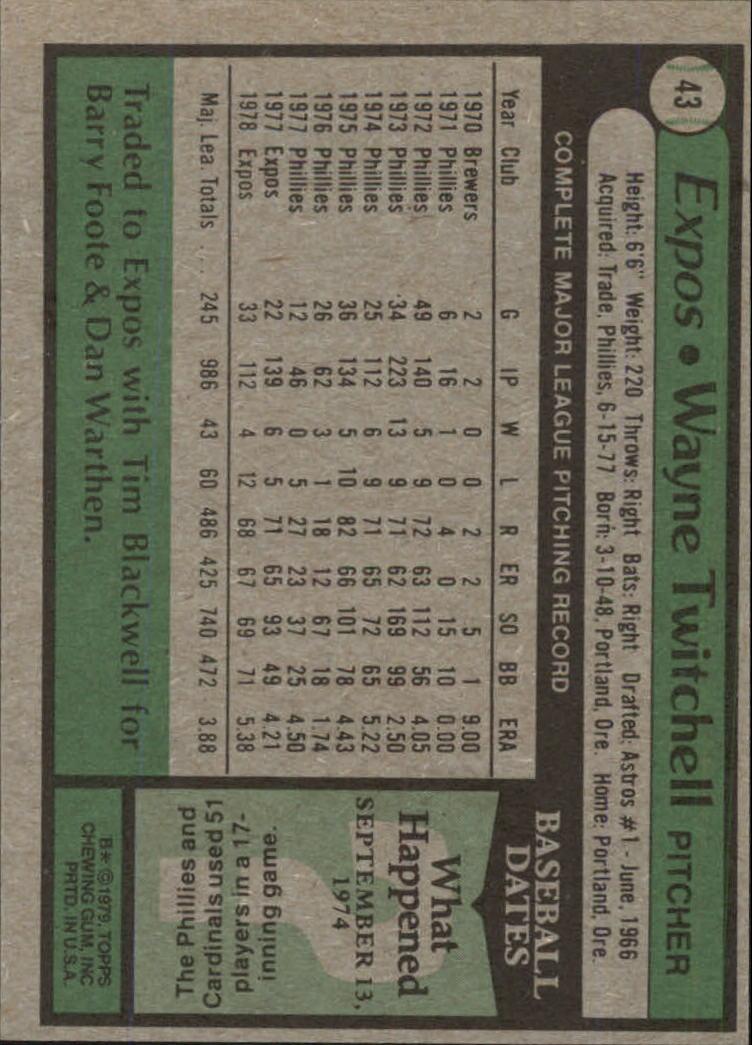 1979 Topps #43 Wayne Twitchell back image