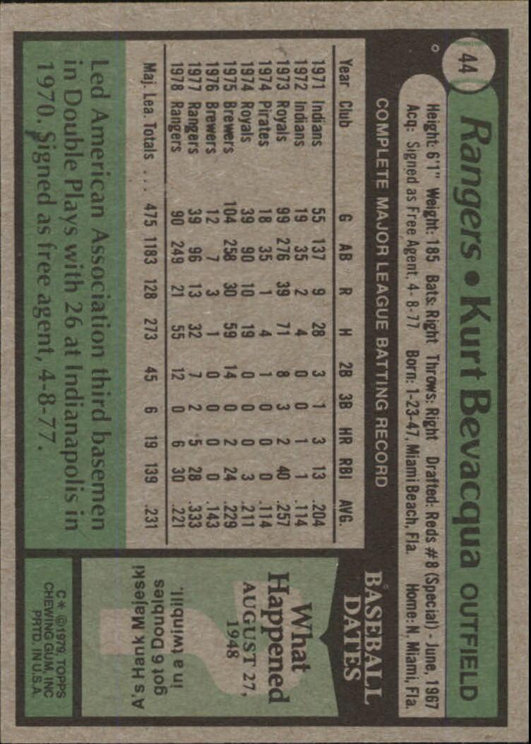 1979 Topps #44 Kurt Bevacqua back image