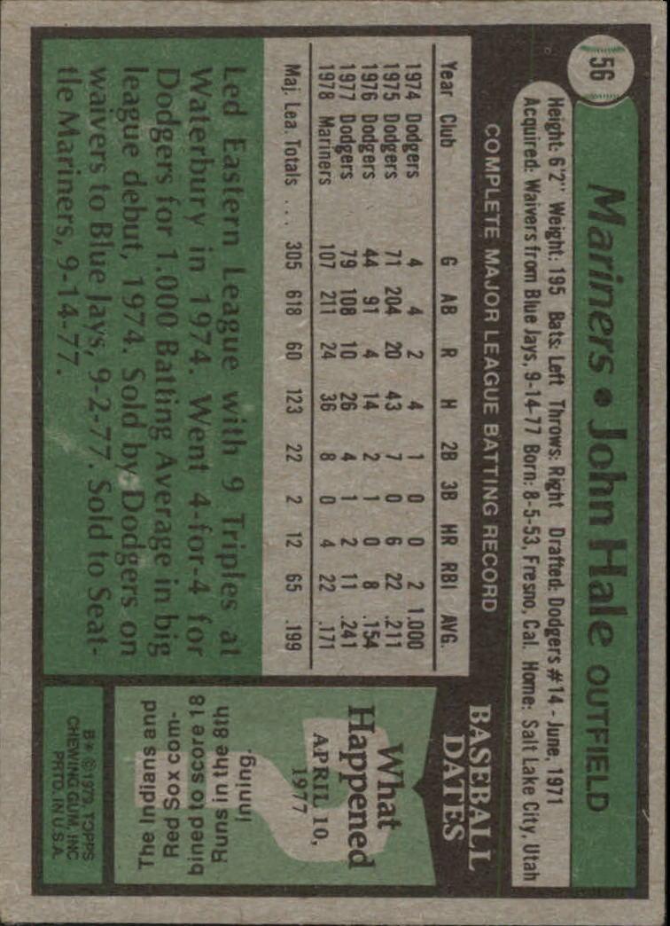 1979 Topps #56 John Hale back image