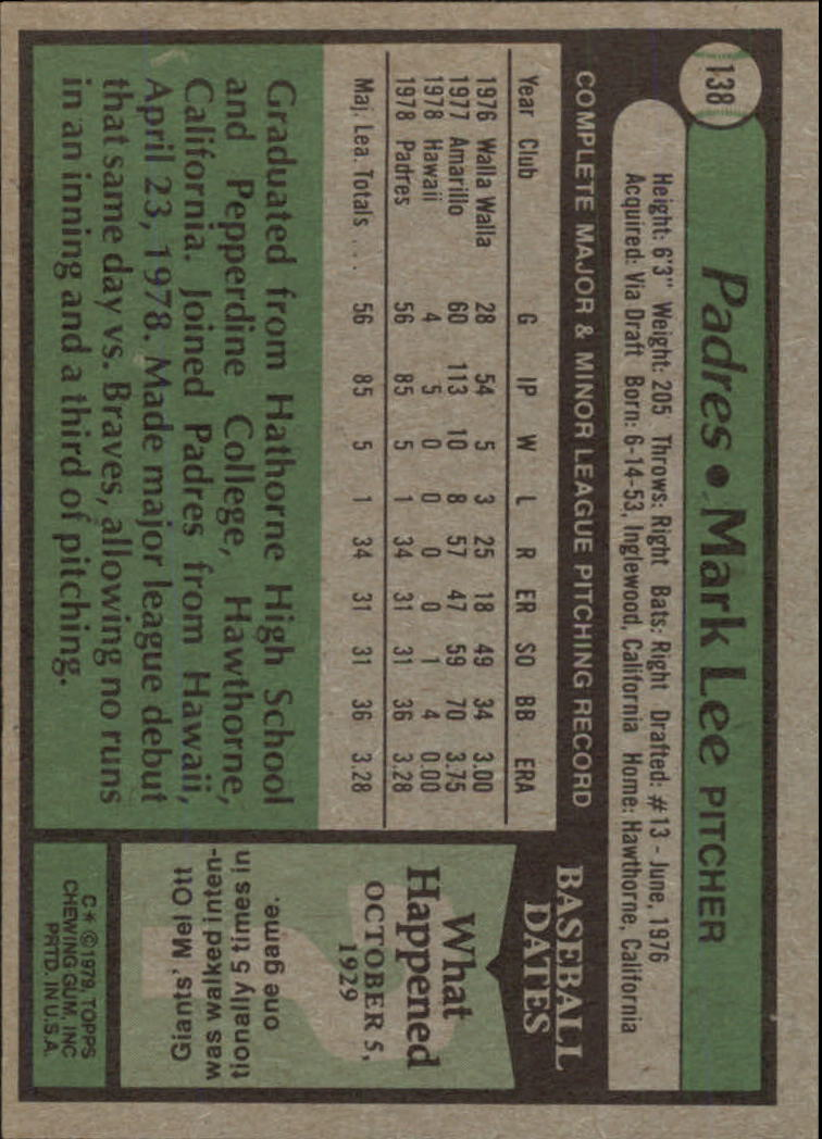 1979 Topps #138 Mark Lee RC back image