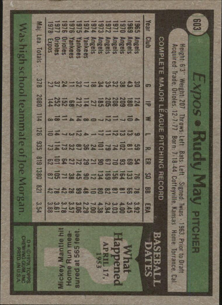 1979 Topps #603 Rudy May back image