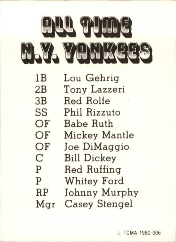 1980 Yankees Greats TCMA #6 Mickey Mantle back image