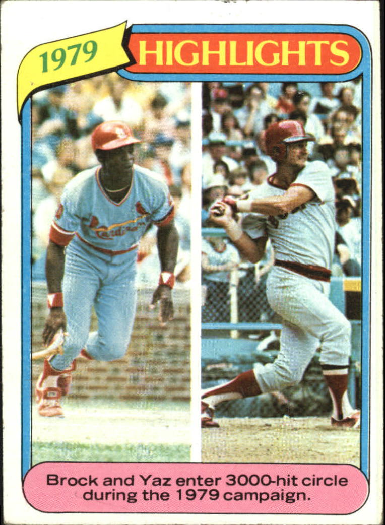 1980 Topps #1 Lou Brock HL/Carl Yastrzemski