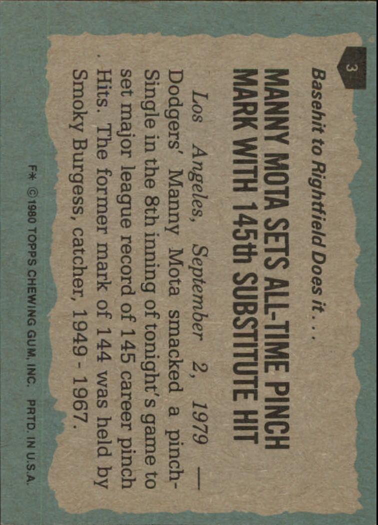 1980 Topps #3 Manny Mota HL back image