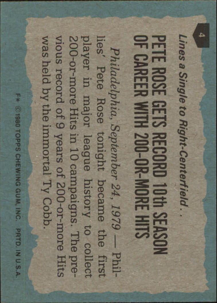 1980 Topps #4 Pete Rose HL back image