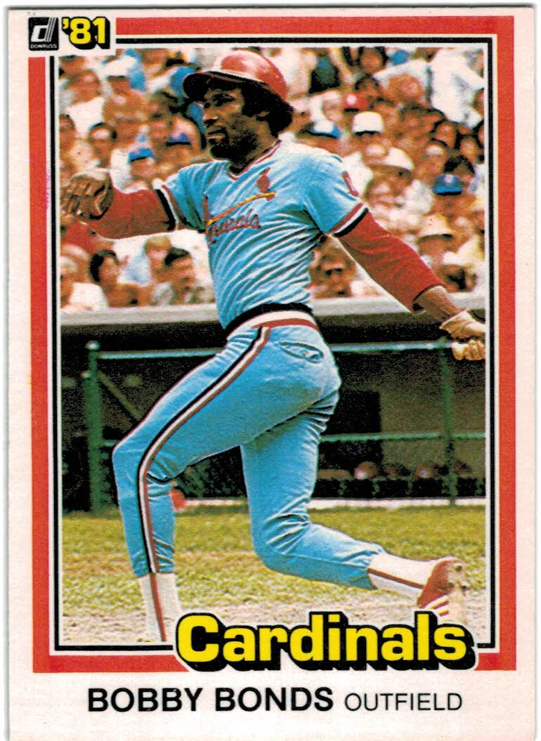1981 Donruss #71B Bobby Bonds P2 COR/326 lifetime HR