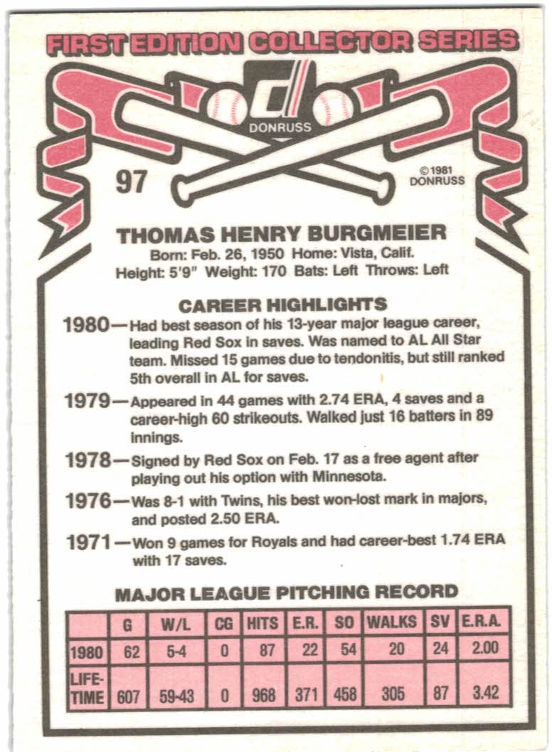 1981 Donruss #97B Tom Burgmeier P2/COR Throws: Left back image