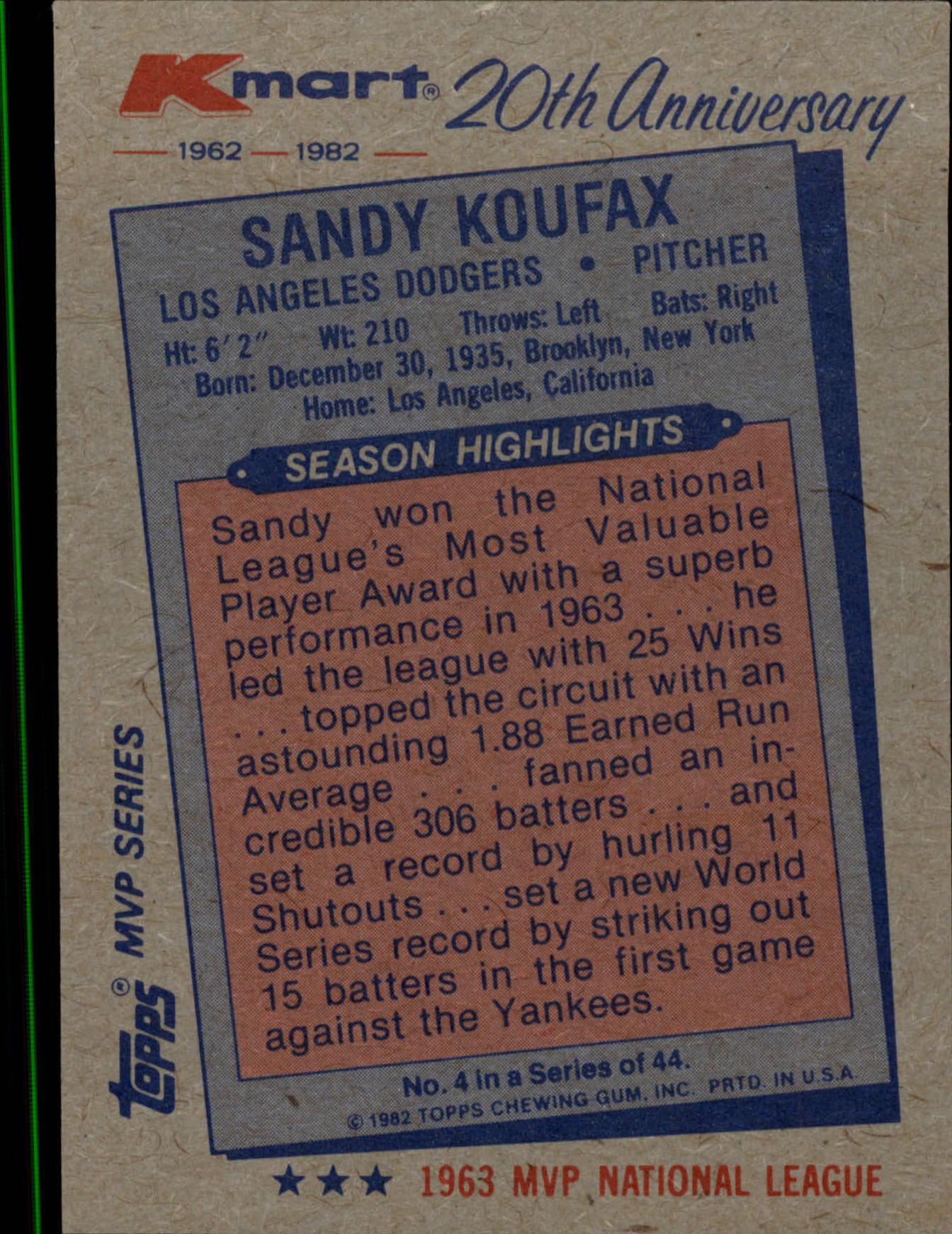 1982 K-Mart #4 Sandy Koufax: 63NL back image
