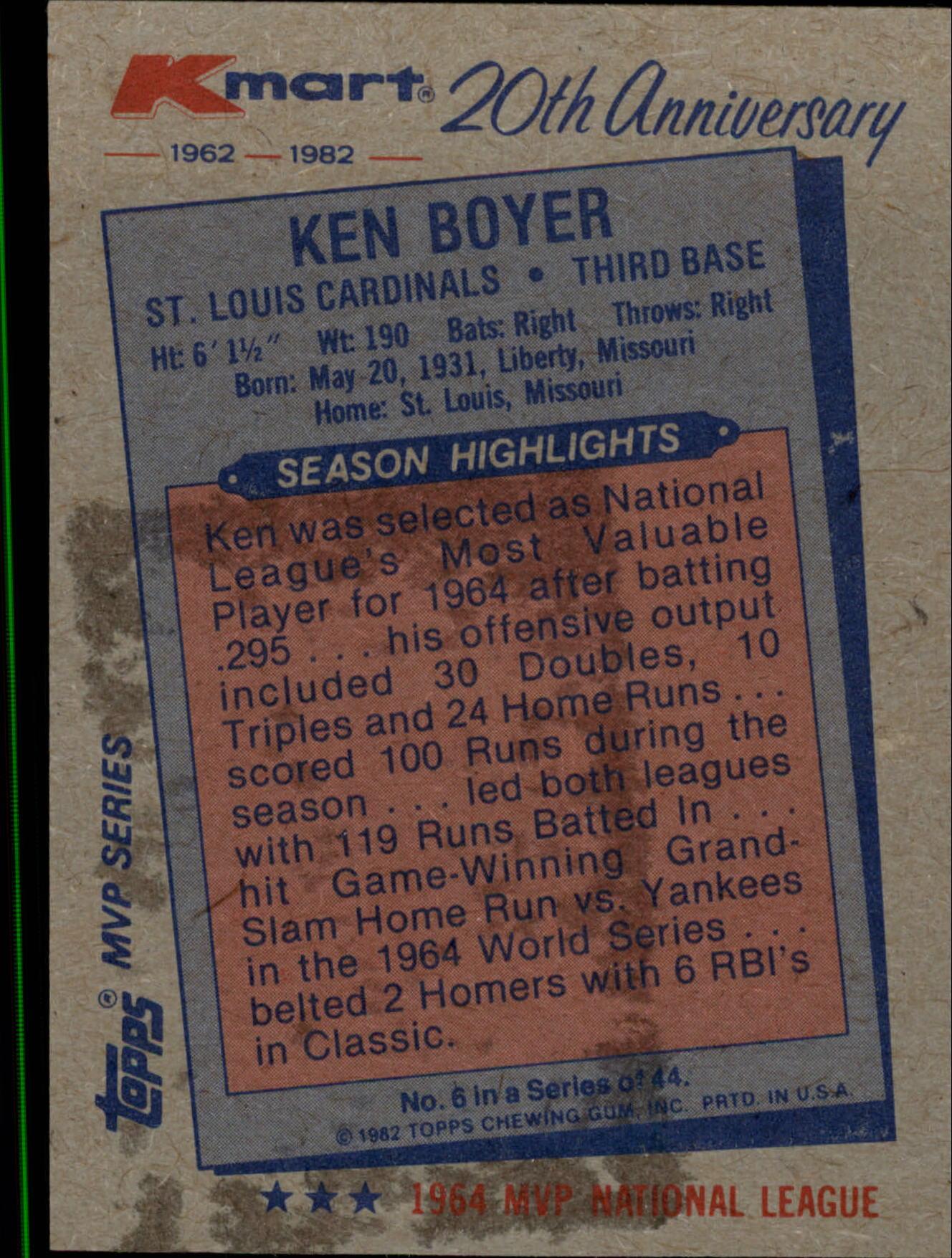 1982 K-Mart #6 Ken Boyer: 64NL back image