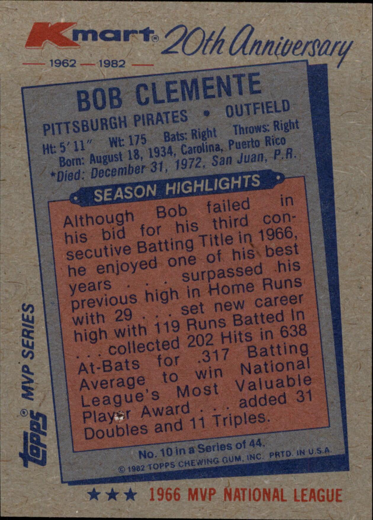 1982 K-Mart #10 Bob Clemente: 66NL back image