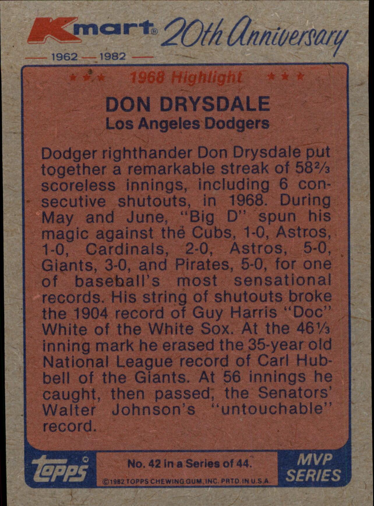 1982 K-Mart #42 Don Drysdale '68 HL/(Scoreless innings) back image