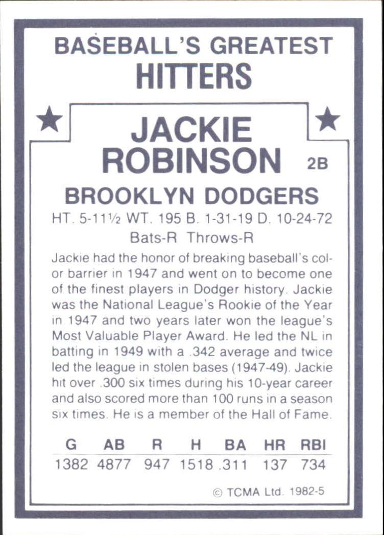 1982 TCMA Greatest Hitters #5 Jackie Robinson back image