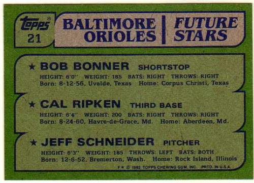1982 Topps #21 Bob Bonner RC/Cal Ripken RC/Jeff Schneider RC/Birthdate for Jeff Scheider is wrong back image