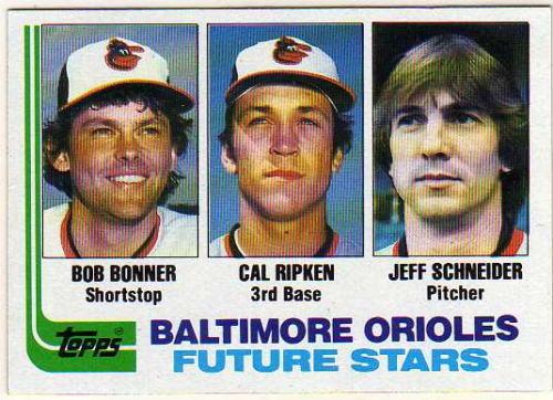 1982 Topps #21 Bob Bonner RC/Cal Ripken RC/Jeff Schneider RC/Birthdate for Jeff Scheider is wrong