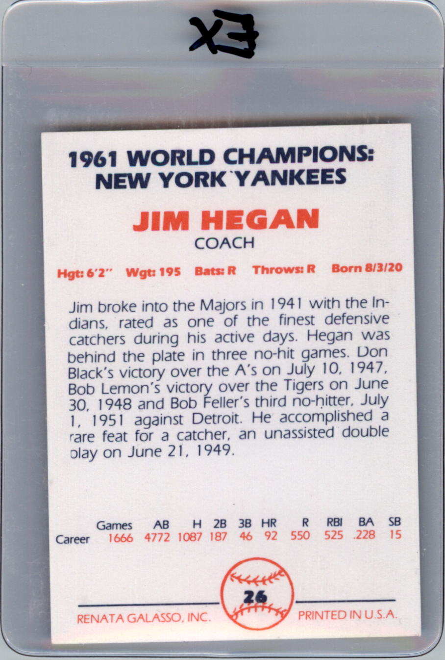 1982 Yankees 1961 Color #26 Jim Hegan CO back image