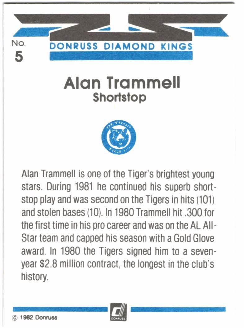 1982 Donruss #5 Alan Trammell DK/COR back image