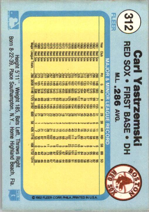1982 Fleer #312 Carl Yastrzemski back image