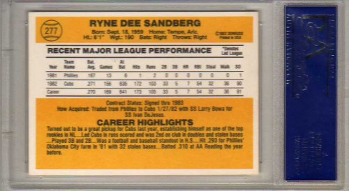 1983 Donruss #277 Ryne Sandberg RC back image