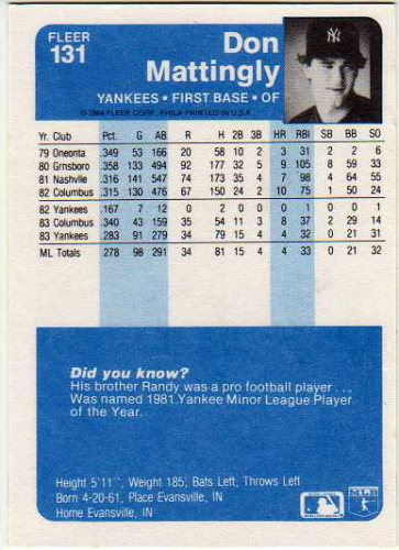 1984 Fleer #131 Don Mattingly RC back image