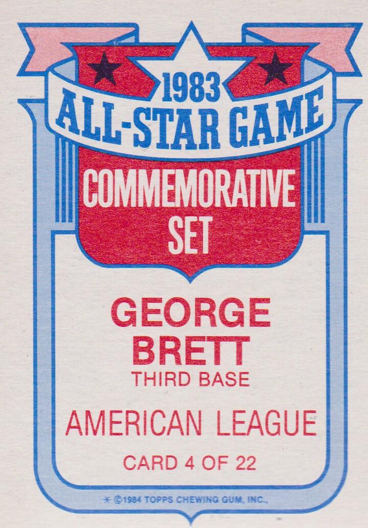 1984 Topps Glossy All-Stars #4 George Brett back image