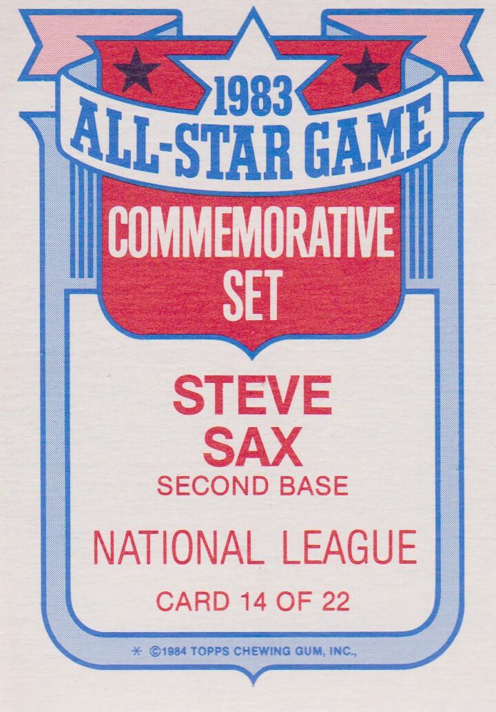 1984 Topps Glossy All-Stars #14 Steve Sax back image