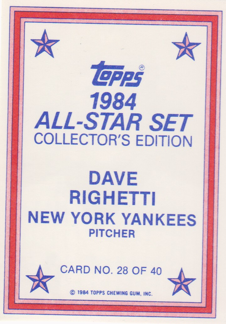 1984 Topps Glossy Send-Ins #28 Dave Righetti back image