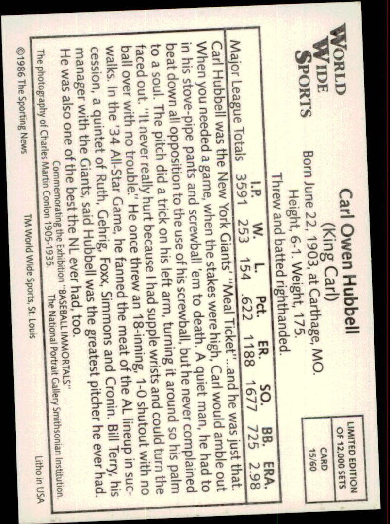 1986 Conlon Series 1 #15 Carl Hubbell back image
