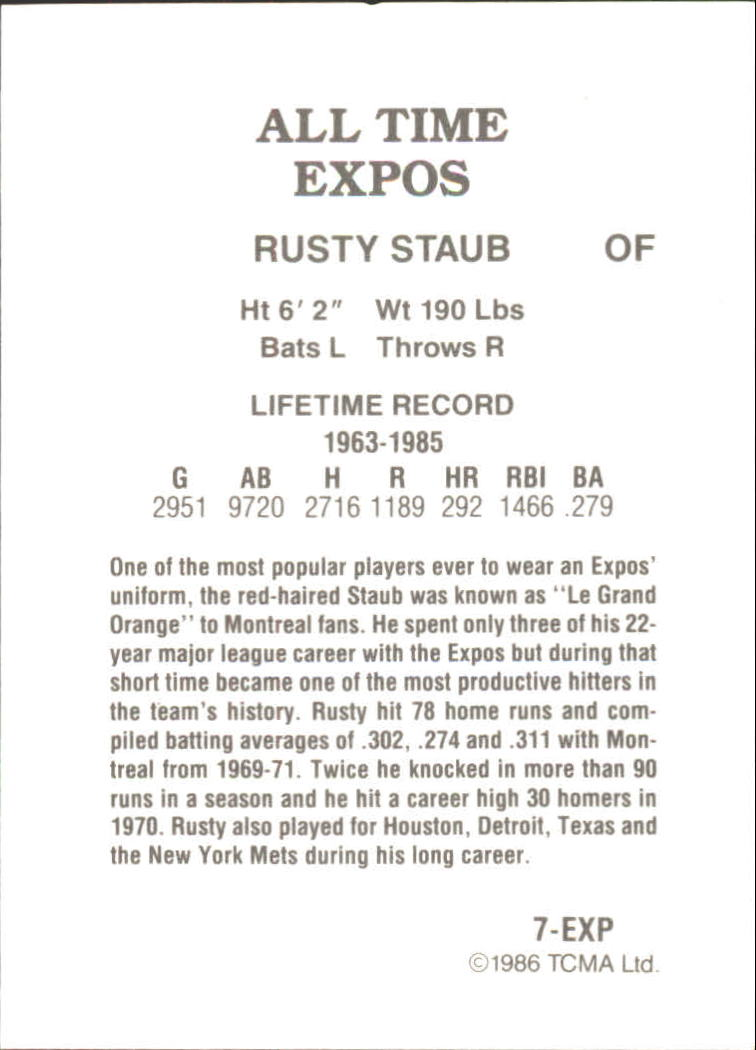 1986 Expos Greats TCMA #7 Rusty Staub back image
