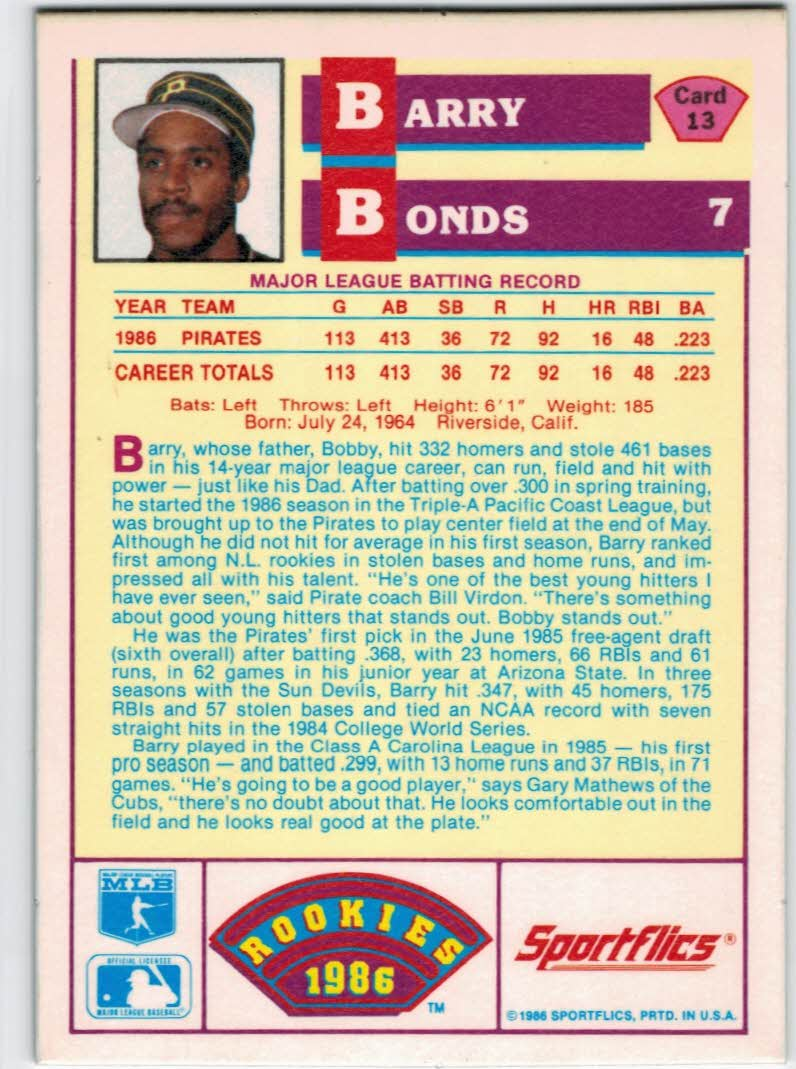 1986 Sportflics Rookies #13 Barry Bonds back image