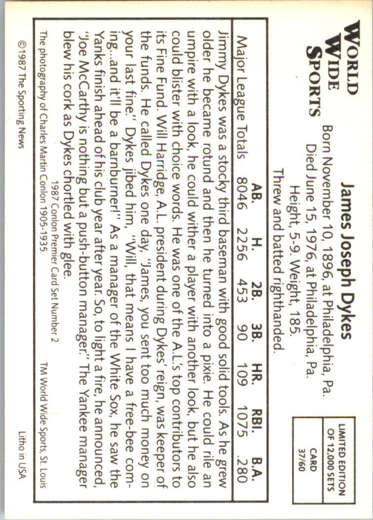 1987 Conlon Series 2 #37 Jimmie Dykes back image