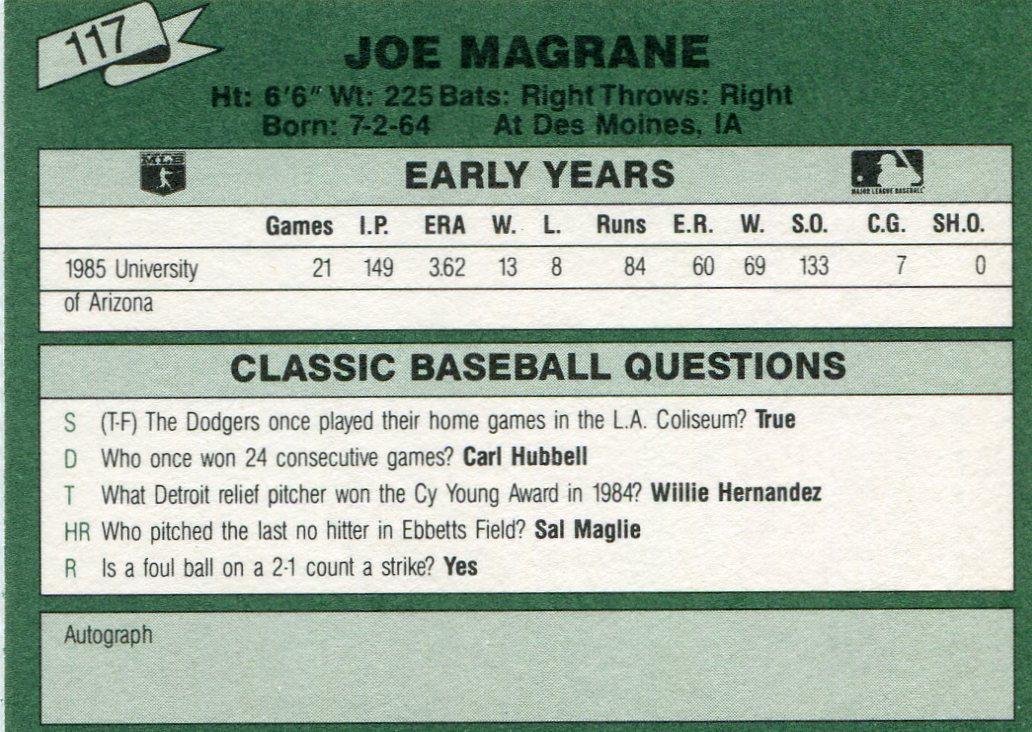 1987 Classic Update Yellow/Green Backs #117 Joe Magrane