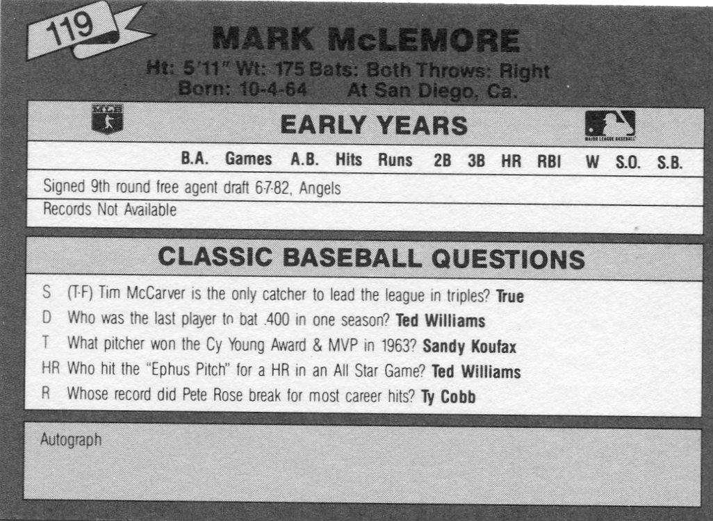 1987 Classic Update Yellow/Green Backs #119 Mark McLemore