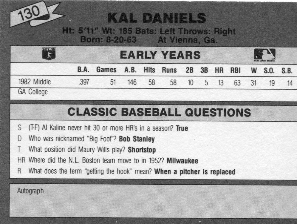 1987 Classic Update Yellow/Green Backs #130 Kal Daniels