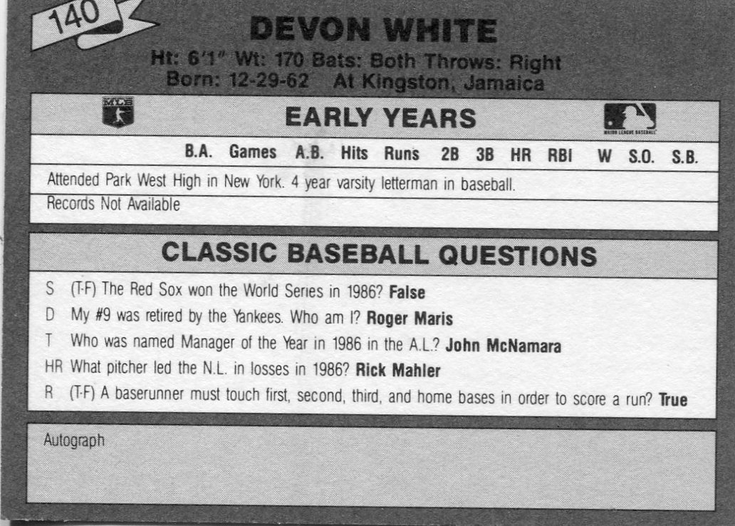 1987 Classic Update Yellow/Green Backs #140 Devon White