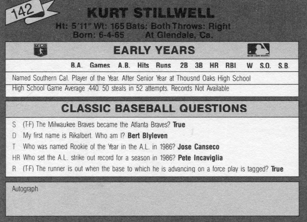 1987 Classic Update Yellow/Green Backs #142 Kurt Stillwell