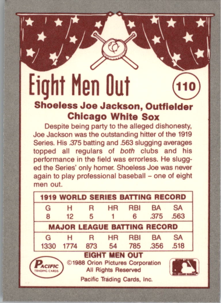 1988 Pacific Eight Men Out #110 Joe Jackson back image